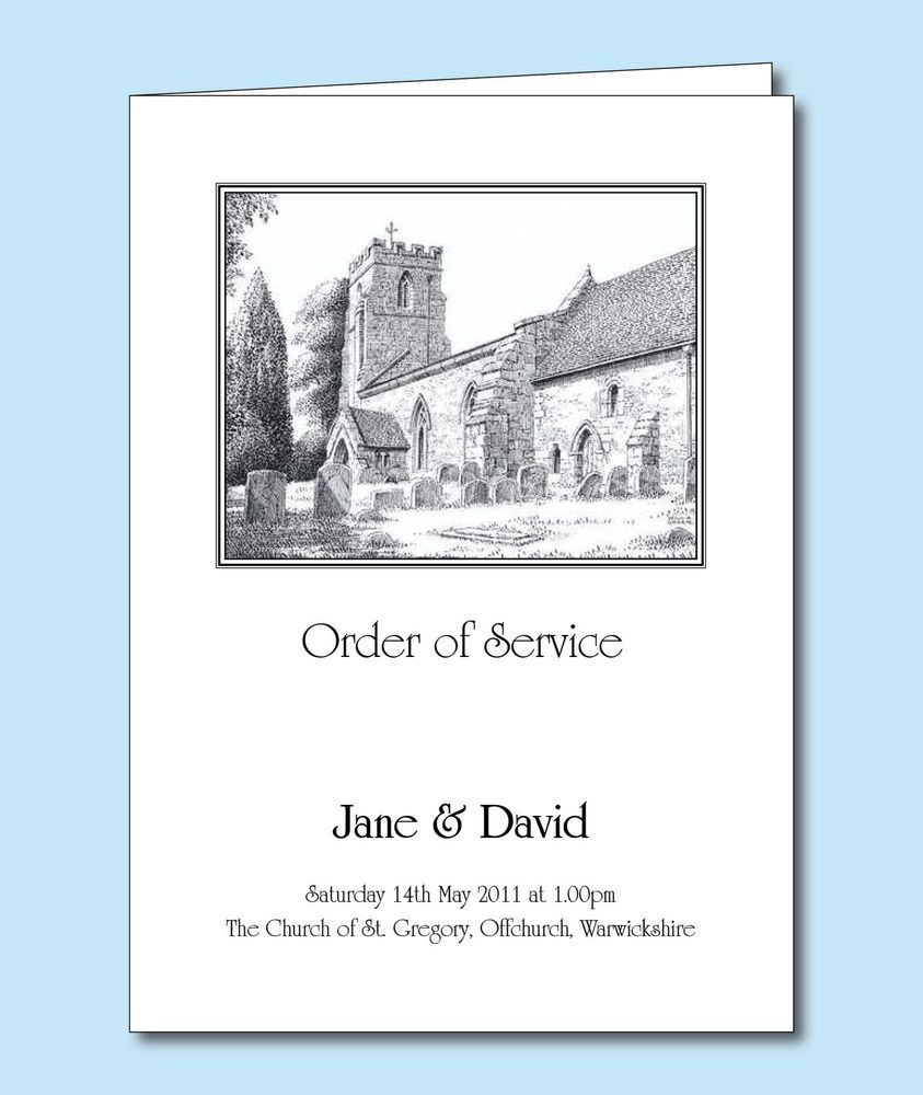 Personalised Wedding Order Of Service Cover Or Booklet Church Sketch Drawing