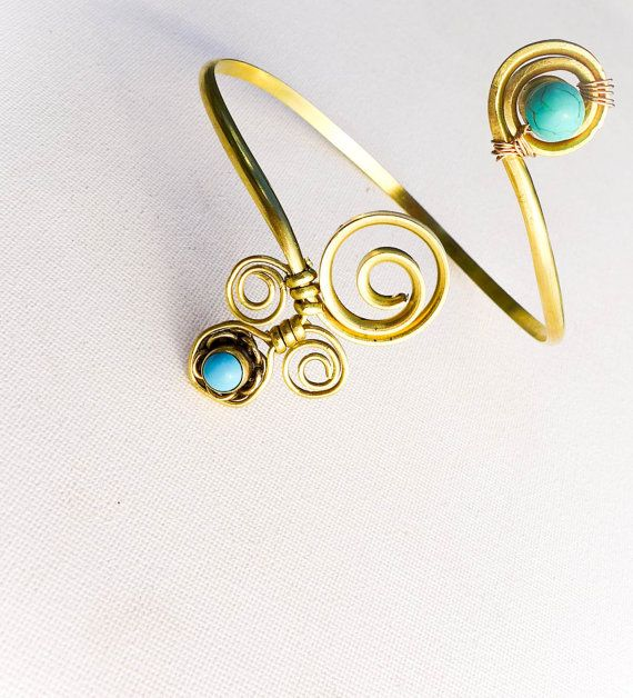 Gold Turquoise armlet. upper arm cuff, Brass arm bracelet, Gypsy arm ...