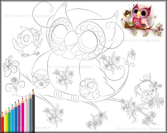 Owl Coloring Page Under Her Wings Mother's by concettasdesigns, $3.50