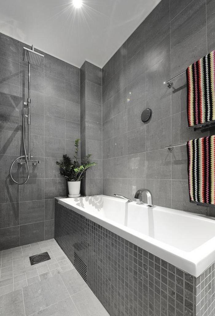 59 salles de bain chic qui vous montrent le beaut du carrelage gris  Salle de bain  Baos