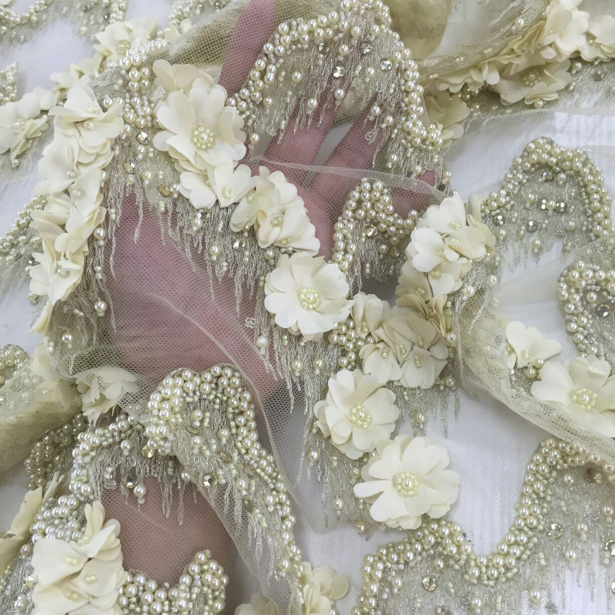 3D Floral Lace FabricLuxury Evening Dress Fabric with Floral EmbroideryUnique Bridal Lace FabricLace Wedding Dress FabricFL-47