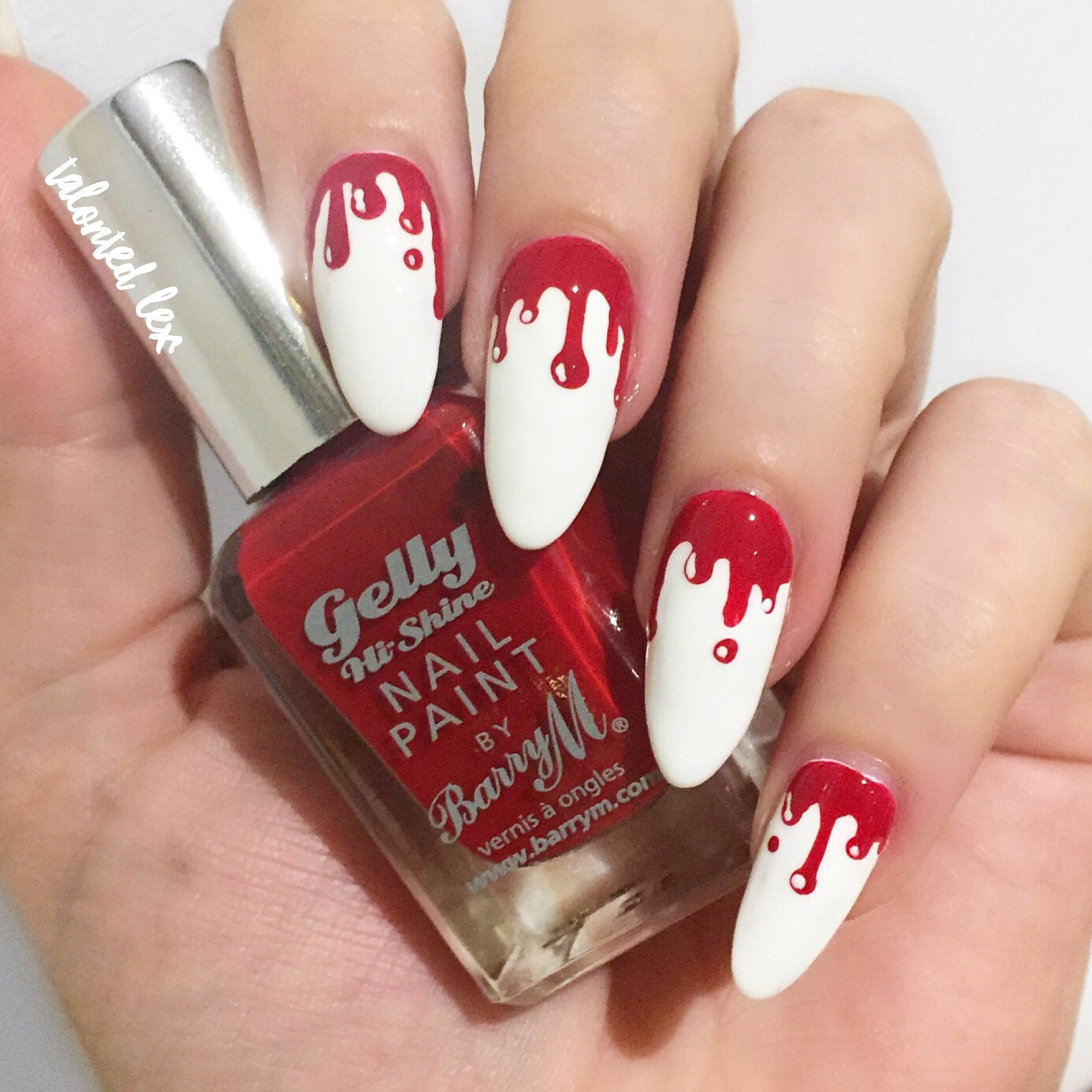 Halloween nail art, dripping blood. Gory nail art , Talonted