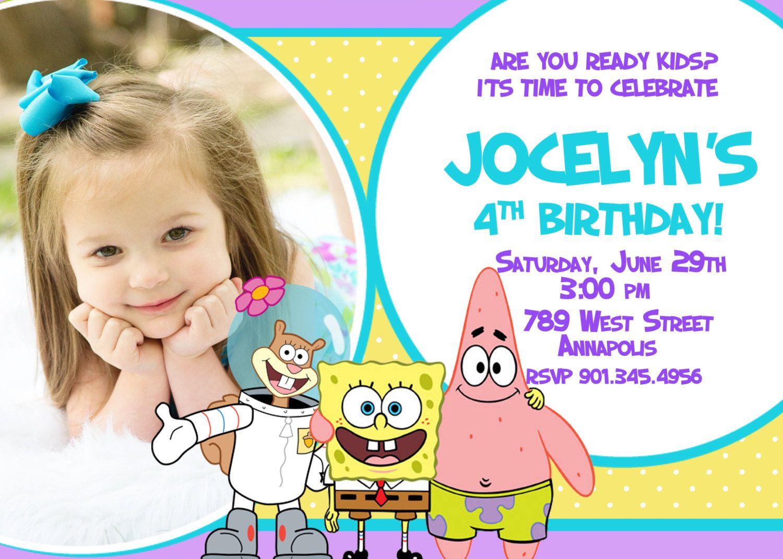 Spongebob+Girl++Birthday+Party+Invitation++by+PrettyPaperPixels,+$ ...