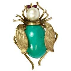 Turquoise Ruby Pearl Gold Large Insect Brooch Pin