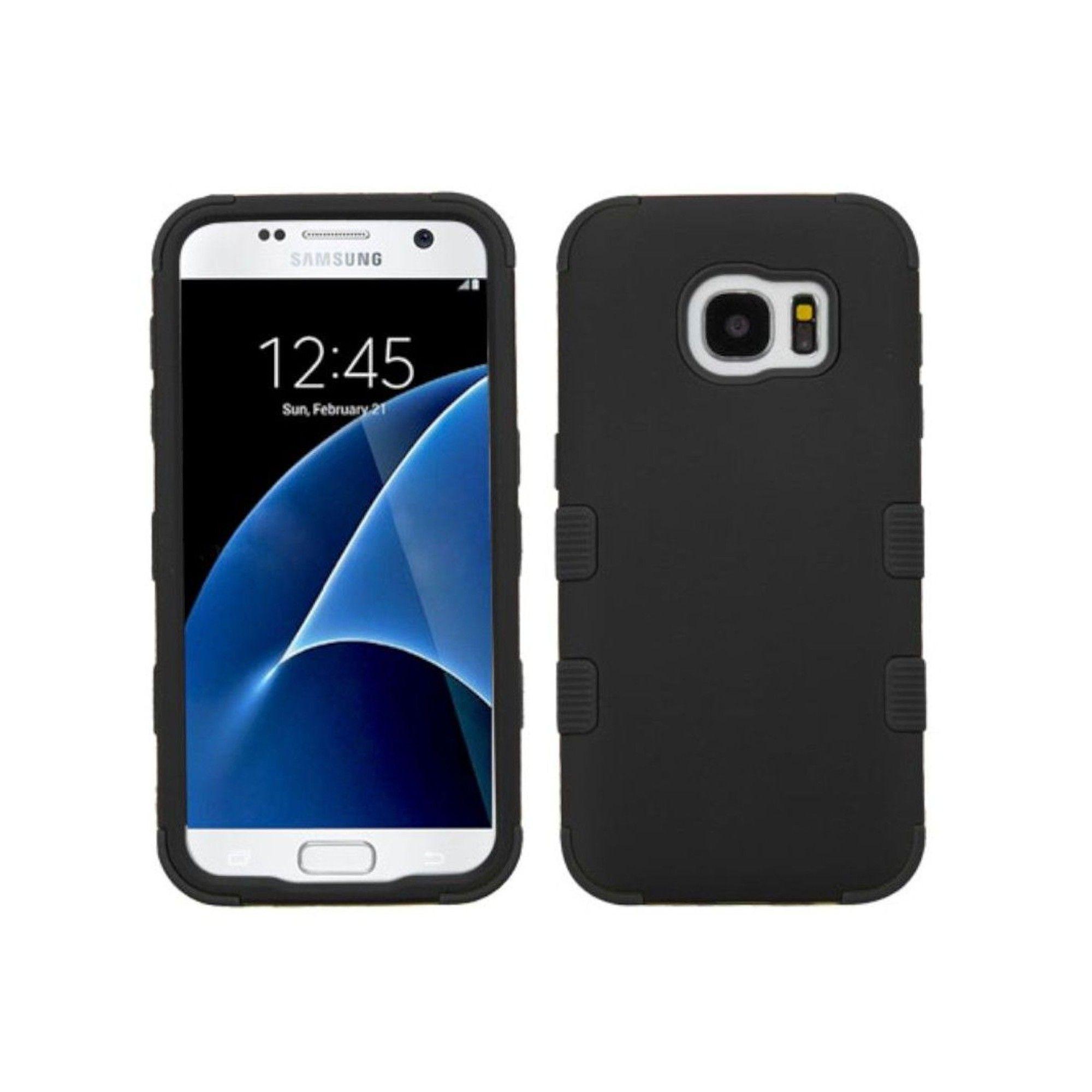 MYBAT For Samsung Galaxy S7 Black Tuff Hard Silicone Hybrid Rubberized Case