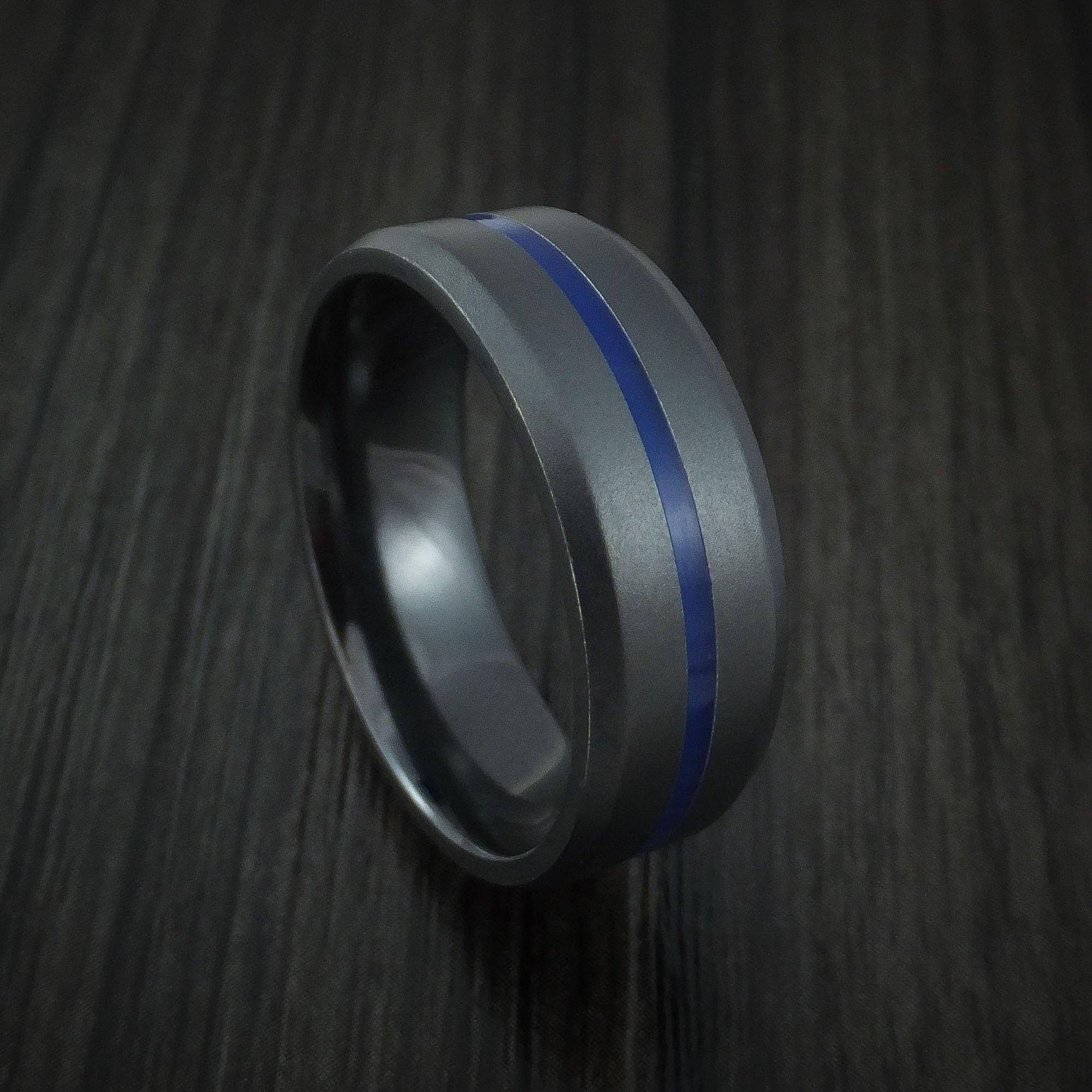 Black Zirconium Ring with Center Blue Inlay Thin Blue Line Wedding Band Genuine Craftsmanship