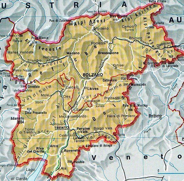 Mappa del Trentino Alto Adige Cartina del Trentino Alto Adige