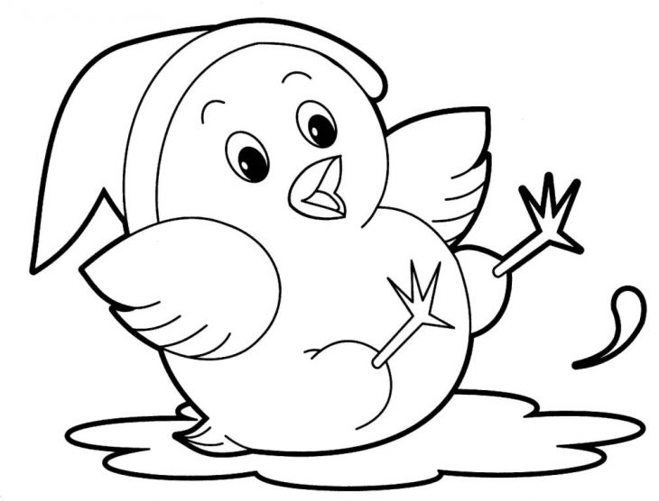 chick baby animals cute coloring page to print out for free - Animals For Kids To Color