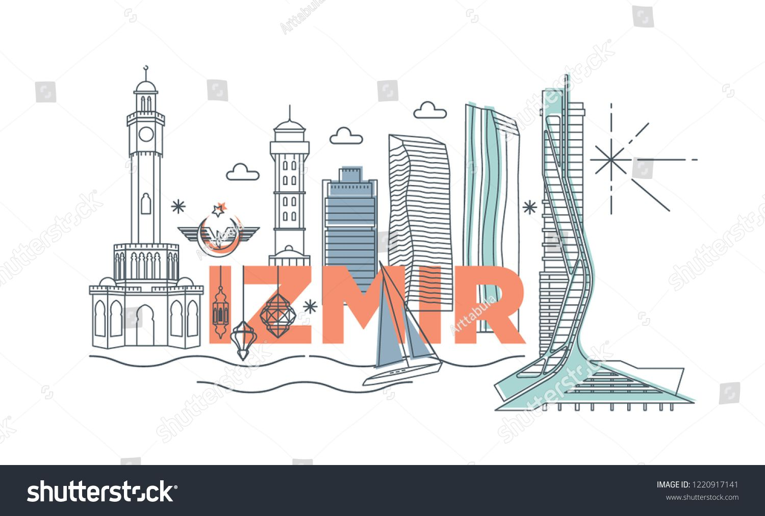 Typography Word Izmir Branding Technology Concept Collection Of Flat Vector Web Icons Turkey Culture Travel Set In 2020 Turkey Culture Famous Architecture Typography