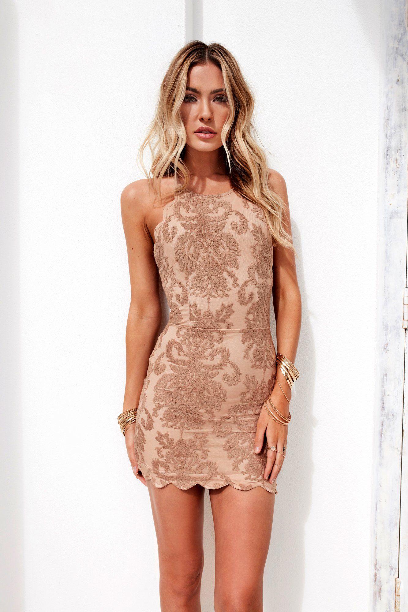 Inka Lace DressDelicate soft lace in mocha with beige underlaySelf