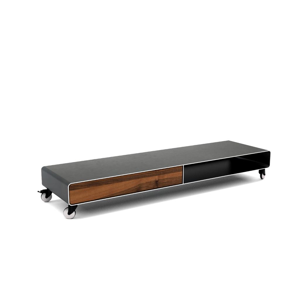 Lowboard Hollywood 1 Holz Schwarz Grau Design Metall