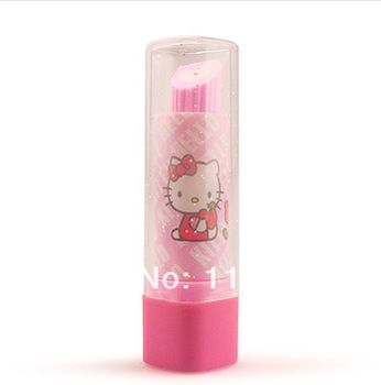 0eb2d895e Student's Cute Eraser Hello Kitty School Supplier Lipstick Rubber Eraser  For Kids