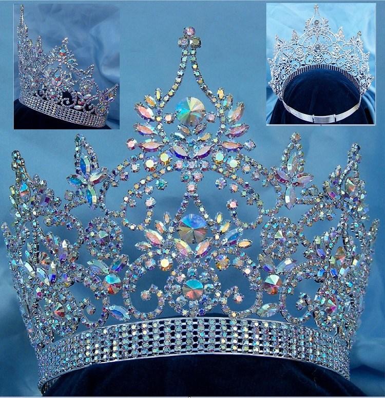 Continental Adjustable Aurora Borealis Silver Crown Tiara #crowntiara