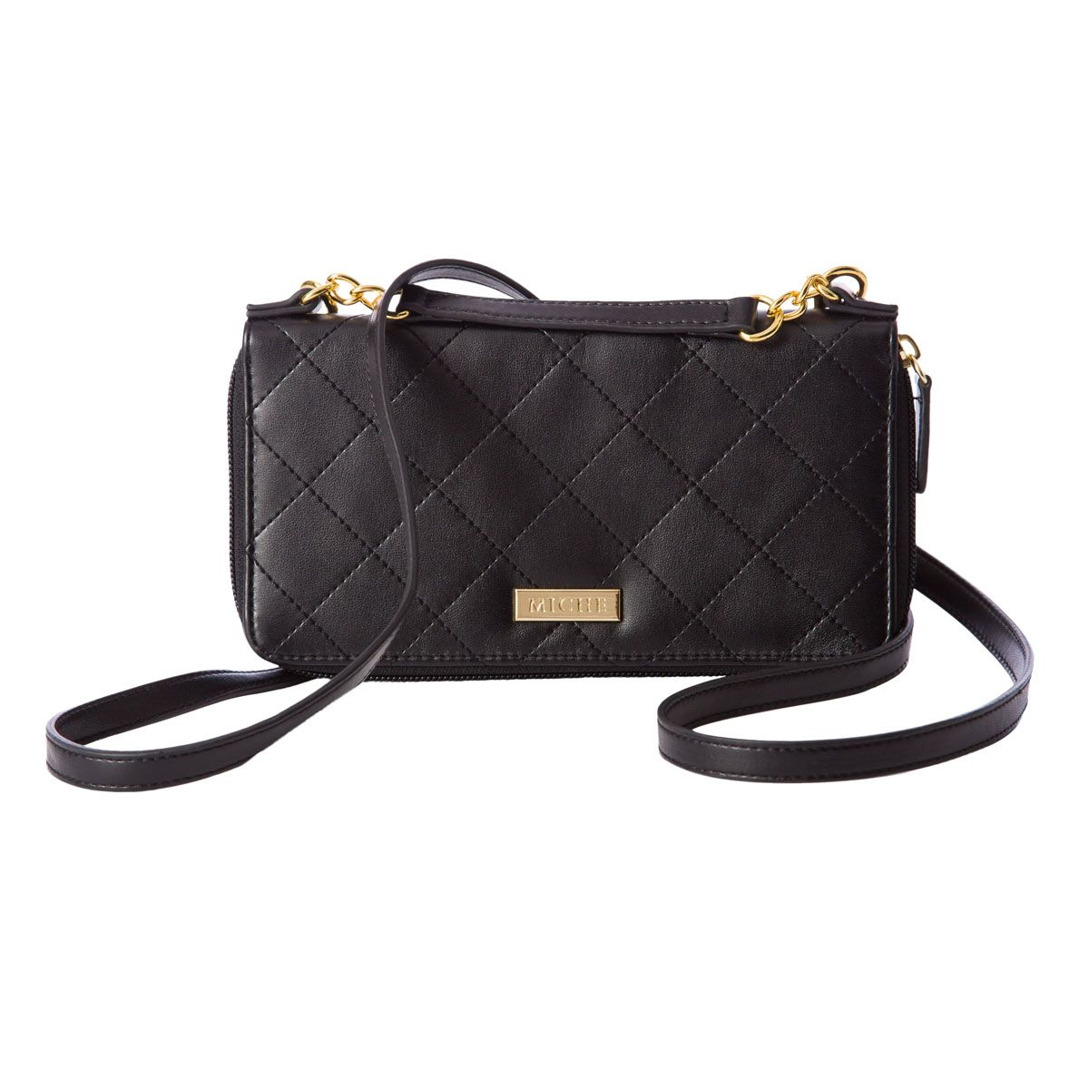"""*Miche Canada* Convertible Wallet (Black): All convertible wallets can be worn cross-body with the strap or carried as a clutch when the strap is removed. Features black faux leather with diamond stitching, zipper closure and gold hardware. Interior is black faux leather. ID card and 11 credit card slots; one open pocket and interior zippered change pocket. Wallet dimensions: 8"""" long x 4 ¼"""" wide. Strap dimensions: 44 ½"""" long x ½"""" wide. Strap drop: 22 ½""""."""