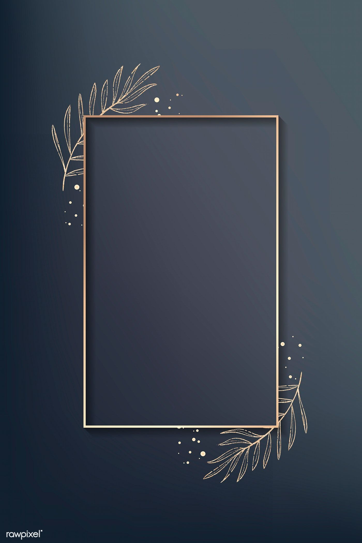 Download Premium Vector Of Rectangle Gold Leafy Frame Vector 938076 Framed Wallpaper Flower Background Wallpaper Poster Background Design