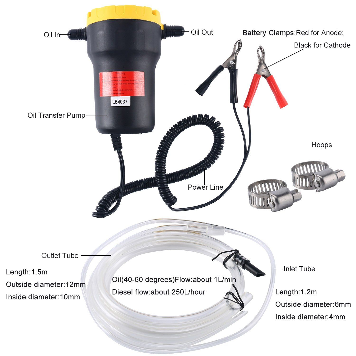 XtremeAuto/® Multi-Use Transfer Pump Oil Fuel Water Coolant Diesel Petrol