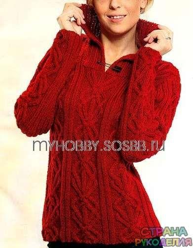 Красный пуловер с рельефным узором спицами – Страна рукоделия