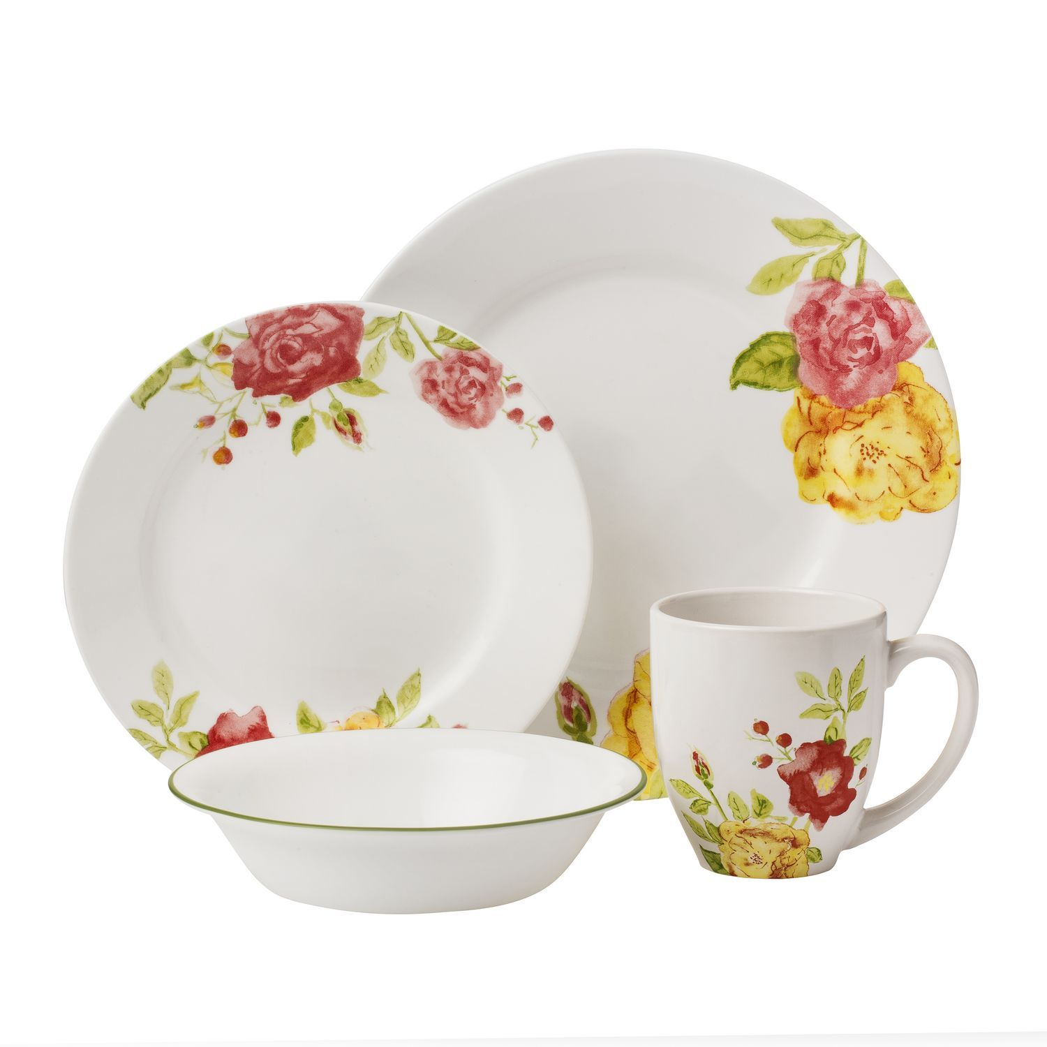 rare corelle patterns  google search  diy  dishes  pinterest - corelle boutique™ emma jane dinnerware set  fresh roses in red pink andyellow adorn modern wide rim plates this bold floral pattern is sure tobrighten