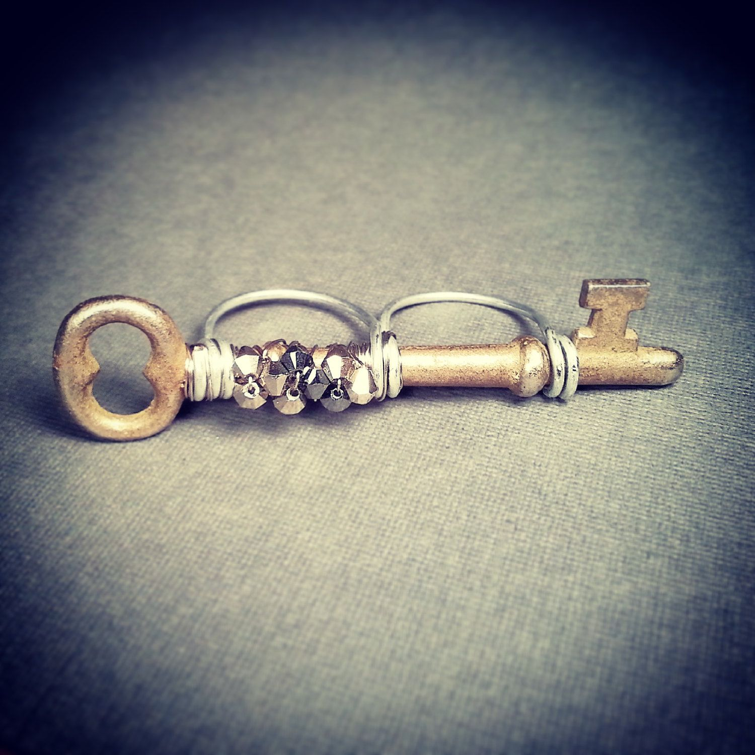 7e1c05b00 New to jennascifres on Etsy: Two Finger Skeleton Key Ring - Steampunk Style  - Swarovski Crystals - Statement Ring - Two Finger Ring - Double Ring - Dual  ...