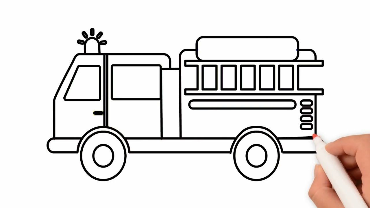 How To Draw Fire Truck Coloring Pages Drawing For Kids Rainbow