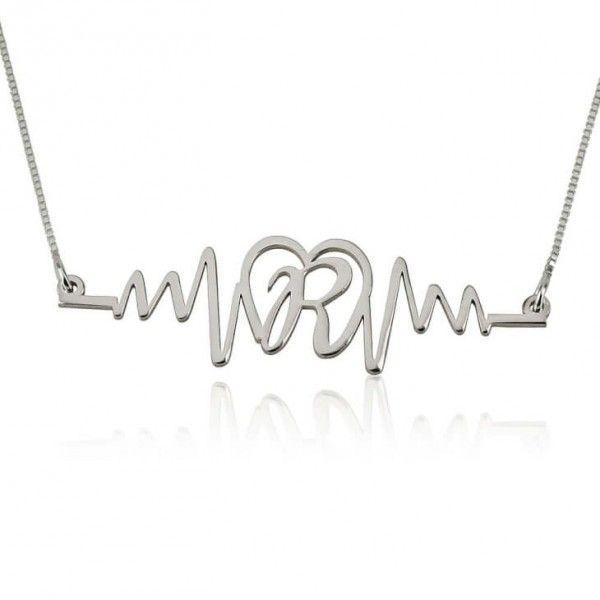 85d38e631f70 Collar Latido de Amor con Inicial en Plata de Ley - Joyas4You - Joyería  personalizada - Joyas personalizadas