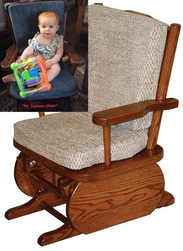Amish Child Glider Rocker Oak And Cherry Hardwood Gliders Upholstered Glider Rocker Child Glider Amish Rocking Chairs