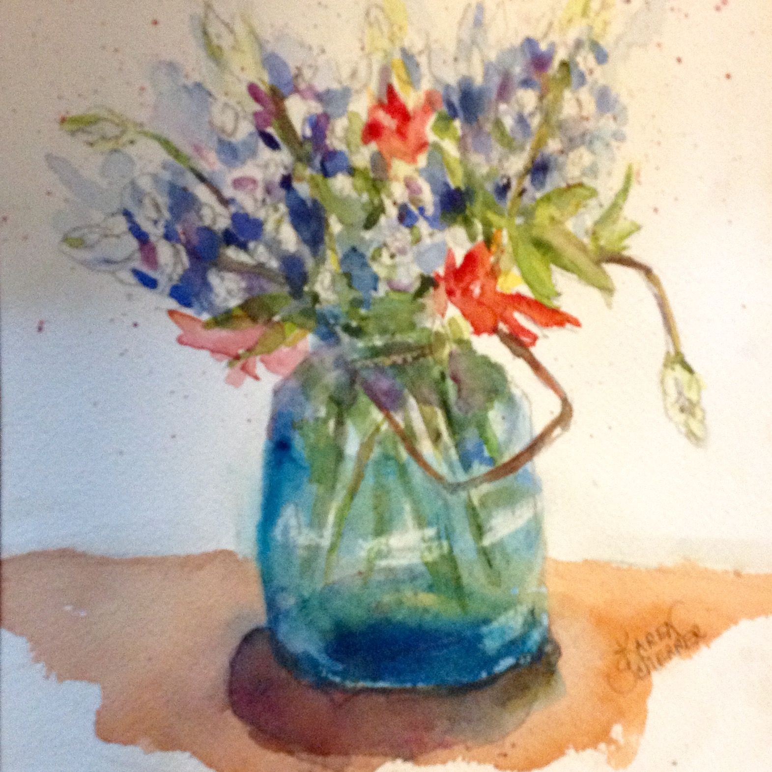 Watercolor artist in texas -  Bluebonnets And Paintbrush By Texas Watercolor Artist Karen Scherrer