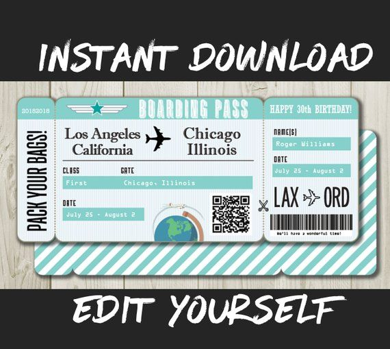 DIY Printable Editable Boarding Pass Surprise Fake Airline Ticket Trip Gift Print At Home Airplane