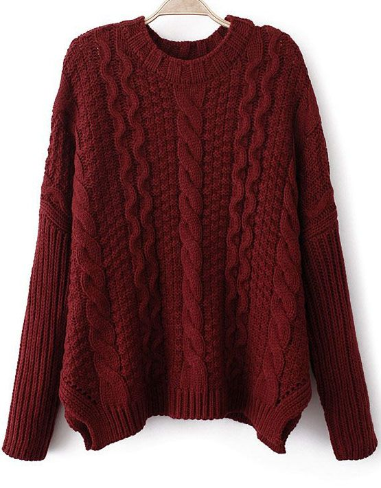 Wine Red Long Sleeve Chunky Cable Knit Sweater - abaday.com ... 971ba47a6