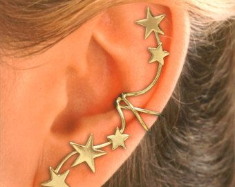 Full Ear, 5 Star Ear Cuffs - Single STERLING or GOLD VERMEIL