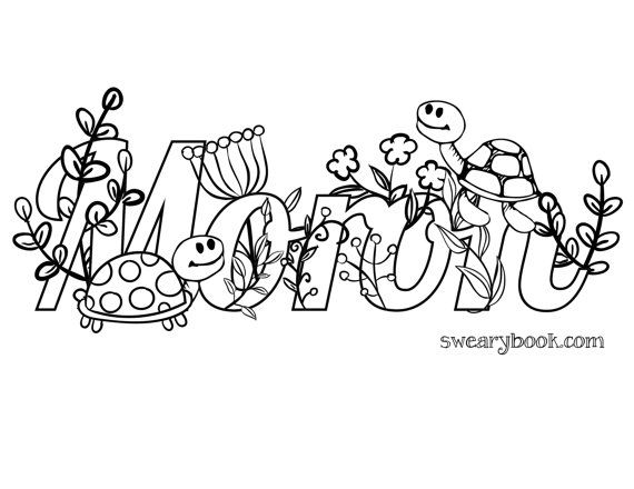 Moron Swear Words Coloring Page from the Sweary Coloring Book