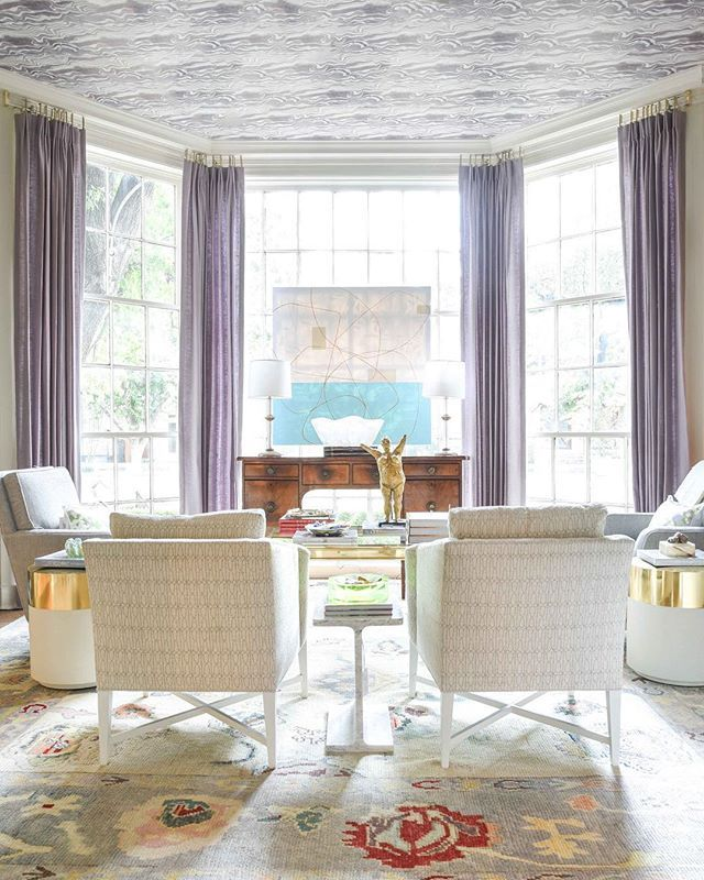 living room design ceiling wallpaper by rebecca atwood art by - new blueprint interior design magazine