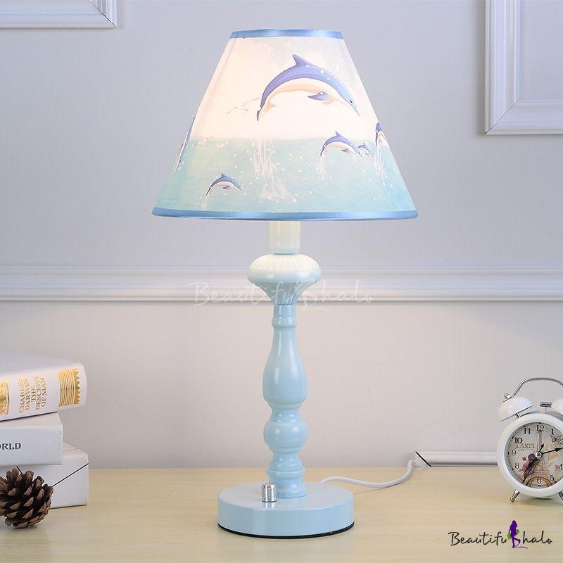 Sky Blue Tapered Table Light Nautical Plastic 1 Light Table Lamp For Bedside Children Room Led Lighting Bedroom Table Lamp Led Table Lamp