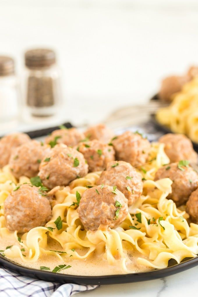 Crockpot Swedish Meatballs A plate of food with br