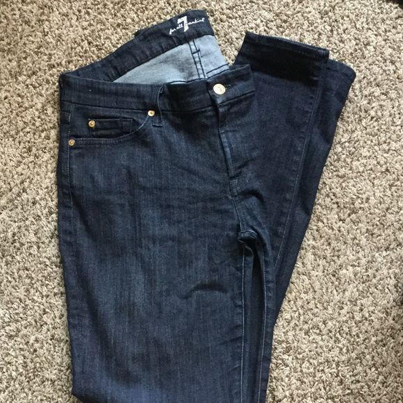 "Size 32 7 for all Mankind Skinny Jeans Size 32, dark, Seven for all Mankind skinny jeans. Although they don't say it, I believe these are a long cut as I have to roll them and I'm 5'8"". They are a stretchy jean. 7 for all Mankind Jeans Skinny"