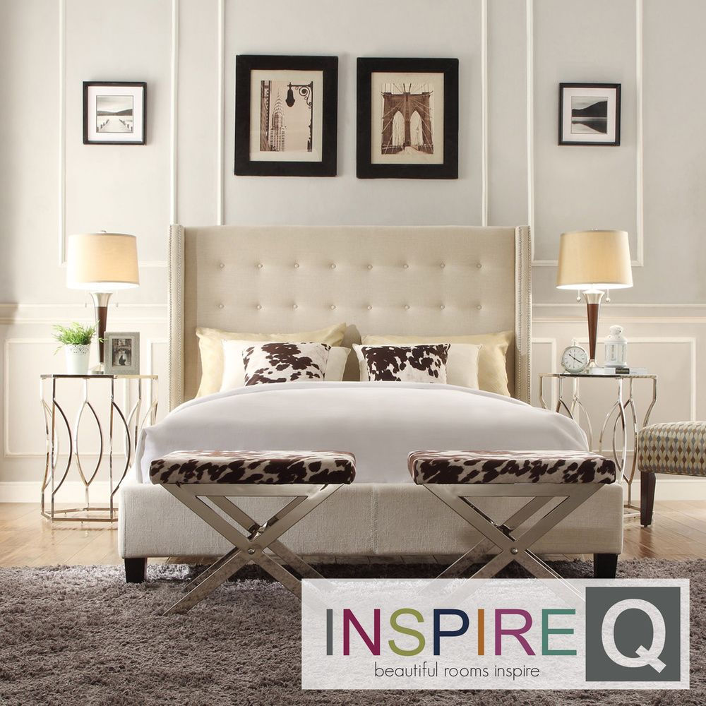 INSPIRE Q Marion Beige Linen Nailhead Wingback Tufted Upholstered Bed by  iNSPIRE Q