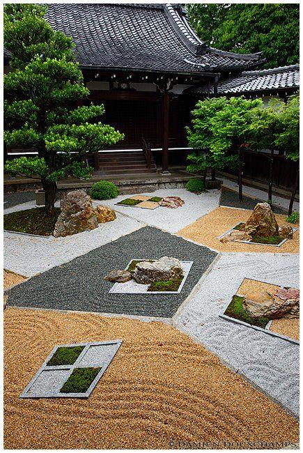 a modern zen garden at shinnyo do in kyoto japan