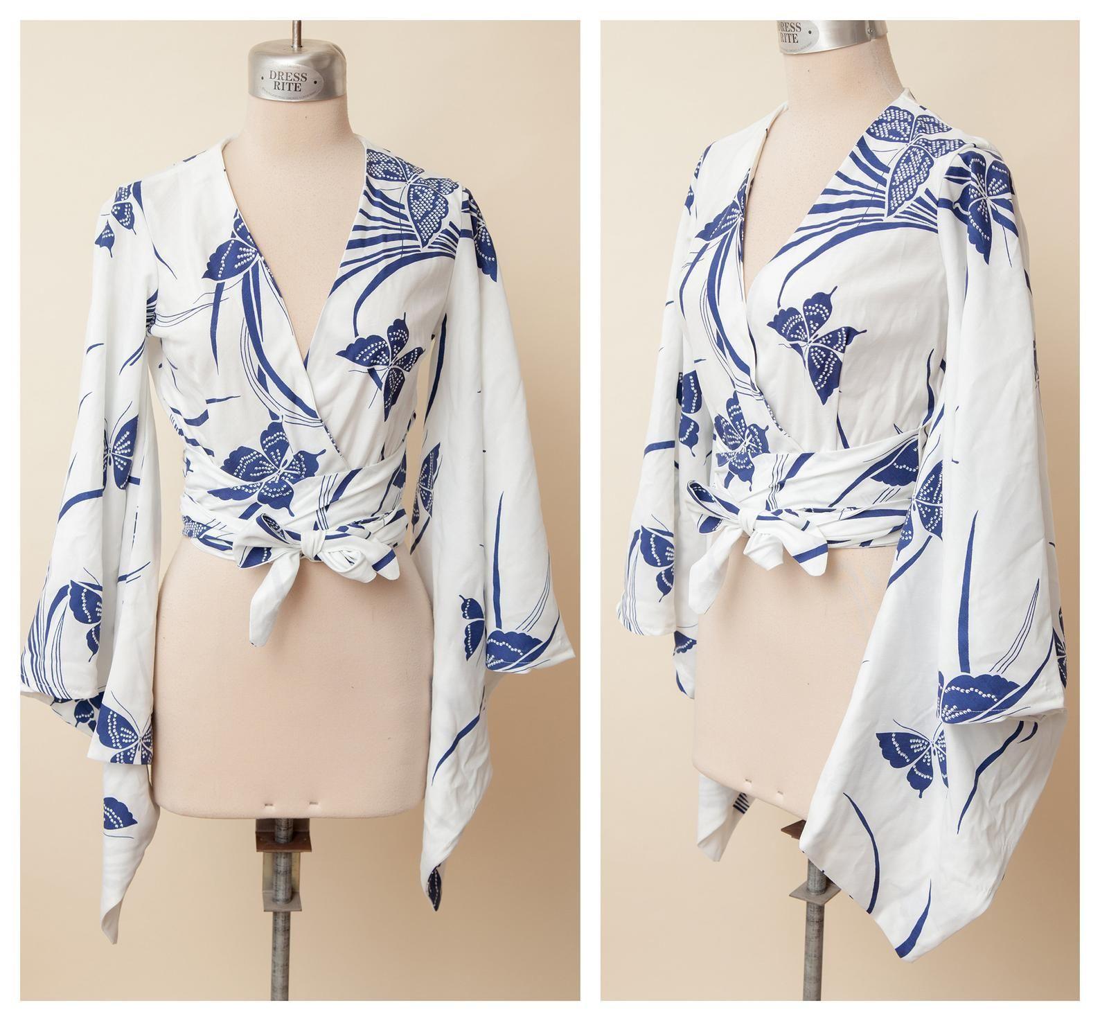 Blue kimono sleeve wrap top butterfly cotton print