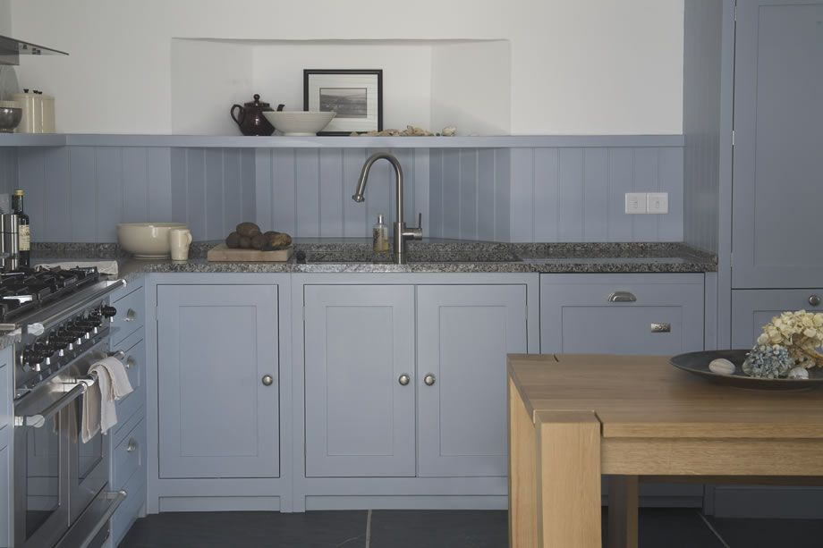 Hand Painted Parma Gray Cabinets Solid Bespoke Oak Table Beach Retreat
