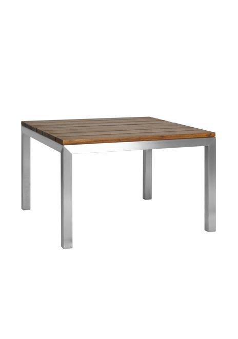 Mesa treviso estructura de metal y cubierta con madera - Mesas de madera para exterior ...