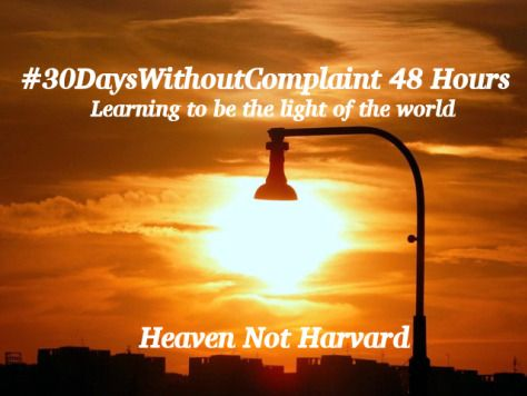 #30 Days Without Complain 48 hours -Light of the World