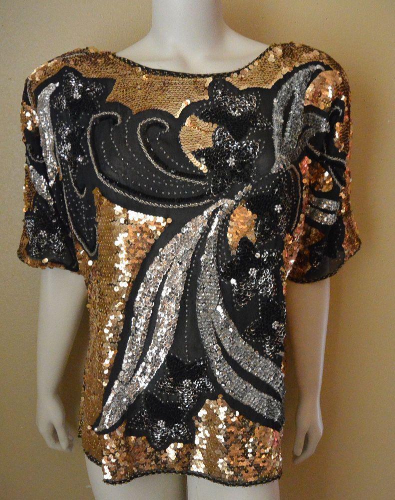 94495dd4283c5 Gold Sequin party evening Blouse L  Unbranded  Blouse  vintage  sequined