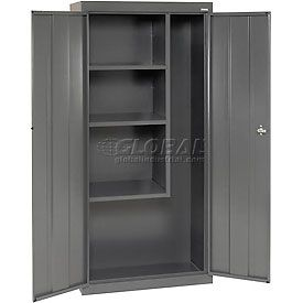 Janitorial Storage Cabinet 30x15x66 Charcoal Cupboard Storage Vacuum Cleaner Storage Metal Storage Cabinets