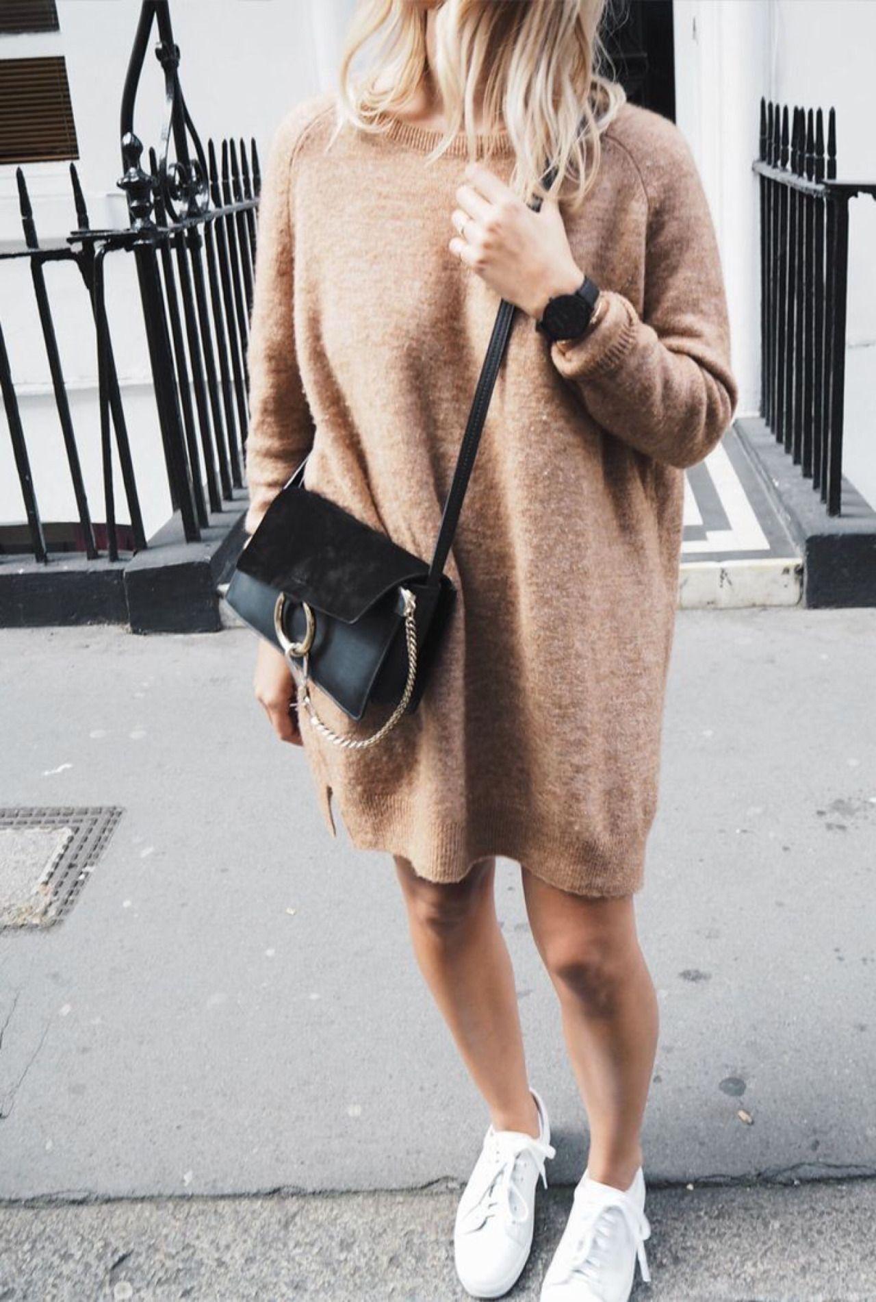 ce726481807 camel sweater dress and Chloe faye bag