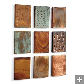 Set Of Nine Outdoor Copper Wall Tiles Grandin Road Copper Wall Art Copper Wall Tiles Copper Wall