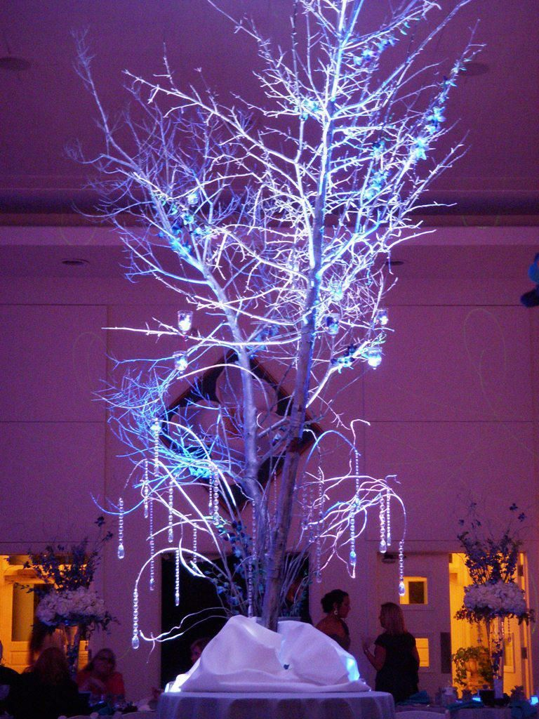 Sa wedding decor images  Pretty ornaments and crystal strands hanging from branches  Winter