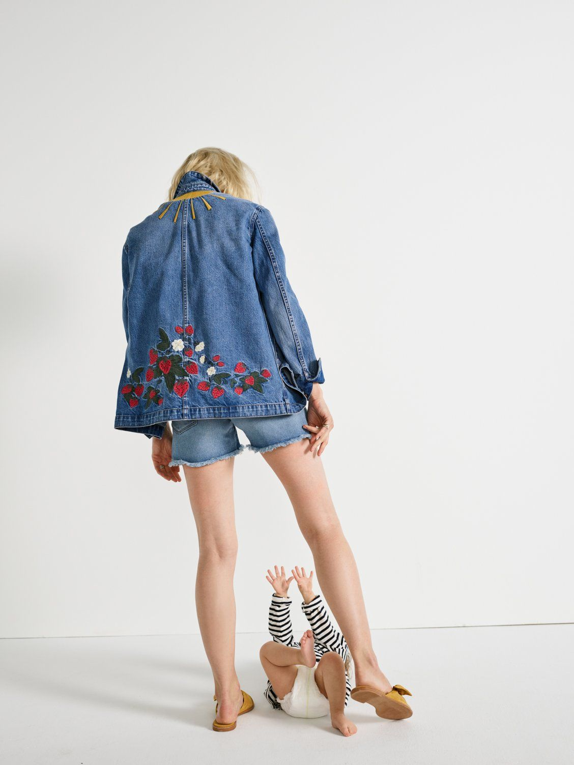 0e9d9e53a5c7 our friend sarah wears madewell strawberry embroidered workwear jacket