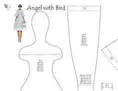 Boneca Tilda Angel with Bird com PAP(DIY) e moldes