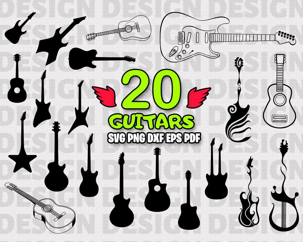 Guitar Svg Cutting Files Guitar Dxf Clipart Guitar Vector Image Guitar Svg File Guitar Dxf Cut File Guitar Dxf