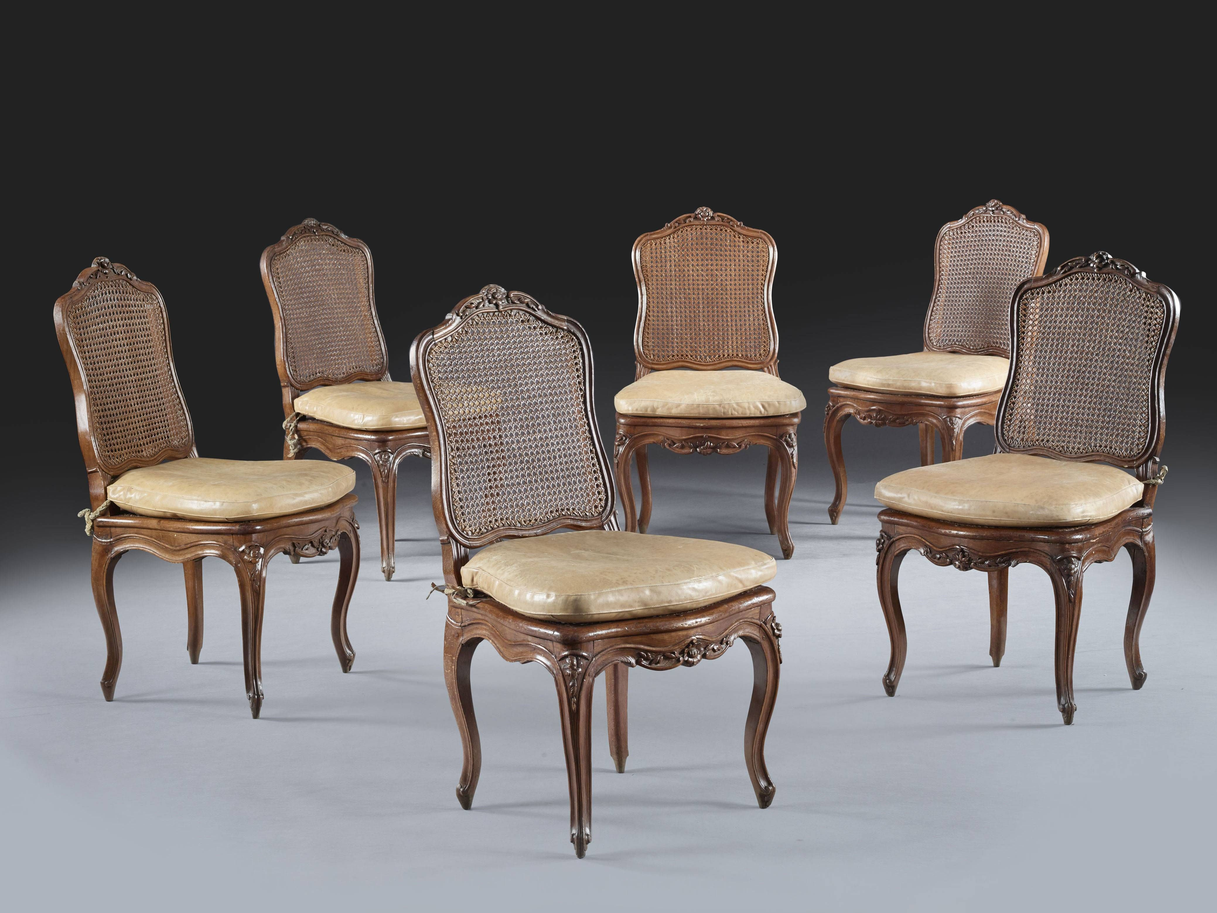 Date Unspecified A Set Of Six Louis Xv Caned Beechwood Chairs